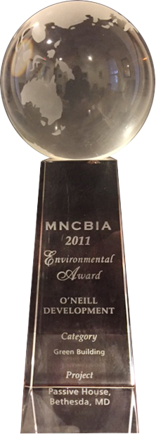 Photo: Award from MNCBIA for Passive House, Bethesda, MD